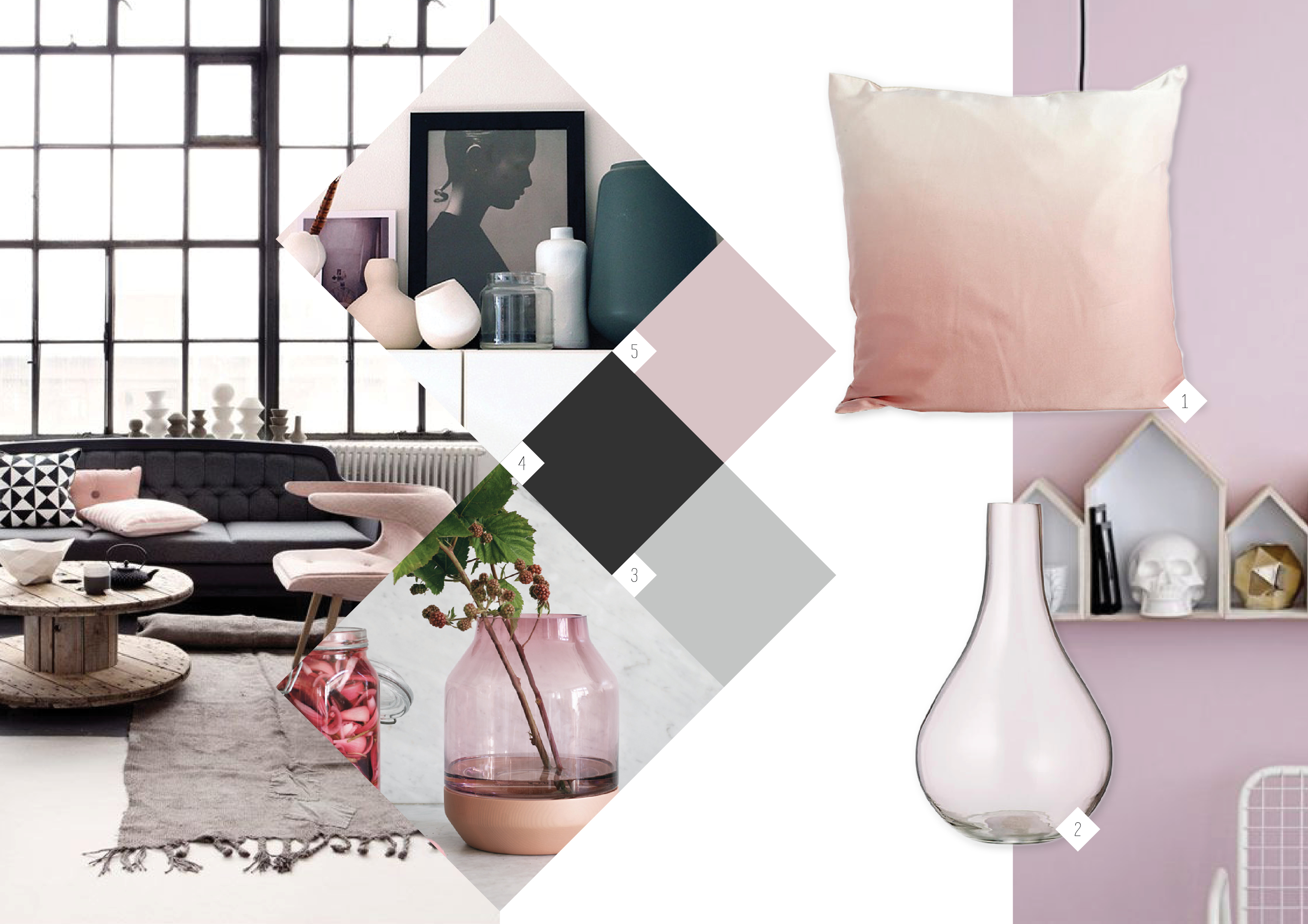 Inspiratie moodboard roze in je interieur for Interieur online